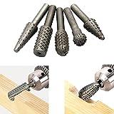 5 pezzi Fresa rotante Set intaglio del legno Punte per trapano Punte da 1/4 '6mm Codolo utensile diametro 13mm