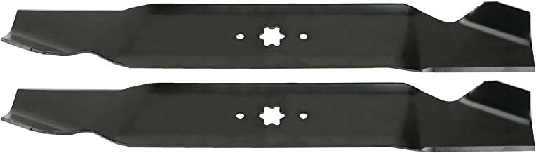 USA Mower Blades (2 MTD616SBP Standard Medium Lift for Windsor 50-3945 50-3950 Length 21-3/16 in. Width 3 in. Thickness .150 in. Center Hole 6 Point Star 42 in. Deck