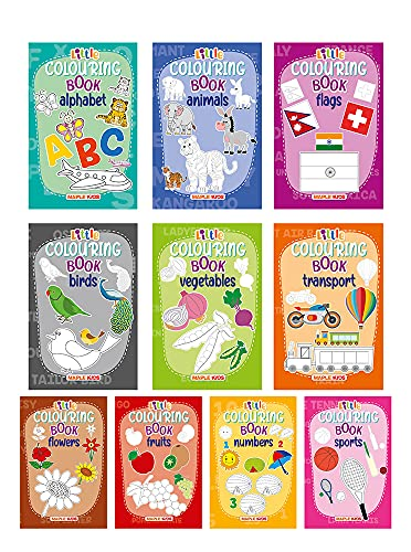 Little Colouring Books for Kids (Set of 10 Books) - Gift to children for painting, drawing and colouring - Alphabets, Animals, Birds, Flags, Flowers, ... Transport, Vegetables - 3 to 6 years old