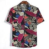 Shirt Hombre Moderno Urbano Cuello V Vintage Estampado Hombre Camiseta Verano Básico Suelto Holgada Manga Corta Casuales Camisa Casual Vacaciones Casuales Hombre Playa Shirt B-Black L