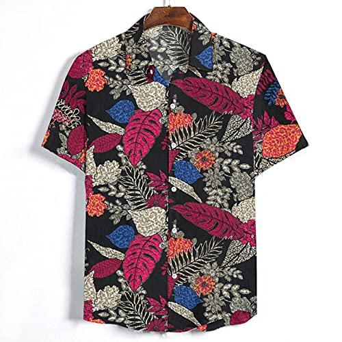 T-Shirt Hombre Moda Transpirable Estampado Vintage Hombre Shirt Regular Fit Botón Tapeta Personalidad Manga Corta Hombres Shirt De Ocio Vacaciones Hawaii Hombres Shirt Playa B-Black XXL
