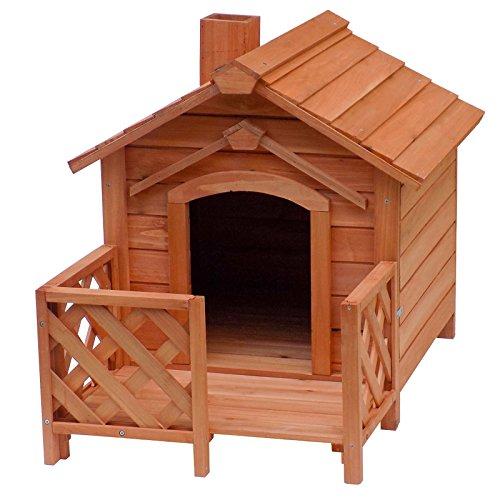 WilTec Caseta de Madera para Gatos con terraza vallada Casita Cachorros Pequeños Animales Roedores Mascotas