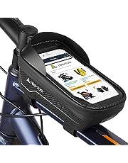 HIKENTURE Frametas, waterdicht, met/zonder vingerafdruksensor, fietstas frame met telefoonhouder, bovenbuistas als mobiele telefoonhouder, ideaal accessoire voor mountainbikes tot 6,5 inch