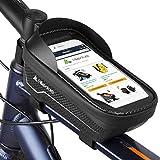 HIKENTURE Bolsa para cuadro de bicicleta, impermeable, con soporte para teléfono móvil, bolsillo para el tubo superior como soporte para teléfono móvil, ideal para bicicleta de montaña de carreras
