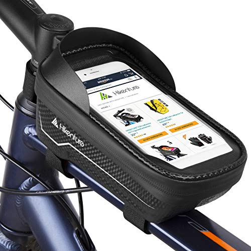 HIKENTURE Rahmentasche Fahrrad Wasserdicht mit Fingerabdrucksensor, Fahrradtasche Rahmen mit Handyhalterung, Oberrohrtasche als Handyhalter, Ideales MTB Fahrrad Zubehör für Handys(023-F)