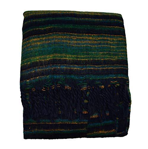 Yak Schal Stola Decke Kuscheldecke Wendeschal Schultertuch Stola Schaltuch Wolldecke Yakwolle Wolle Wollschal 205x88 cm (Grün)