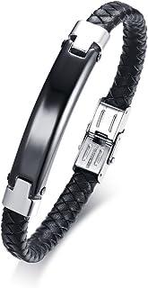 Vnox Incisione Gratuita Marchio di Piegatura Cuoio Intrecciato Bracciale in Acciaio Inossidabile Nero + Argento 21,5cm,Per...