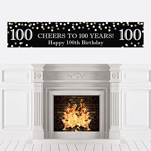 Big Dot of Happiness Adult 100th Birthday - Gold - Birthday Party Decorations Party Banner
