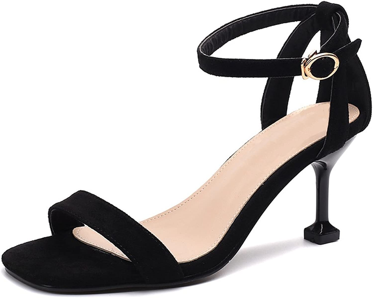 Dreneco Women Kitten Heel Ankle Strap Sandals Ladies Peep Toe Strappy Party shoes