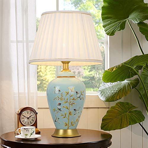 ZDHG bedlamp, tafellamp, moderne kunst decoratie, stof, lampenkap van linnen/lamplichaam van keramiek, geschikt voor woonkamer, slaapkamer, entree, studie