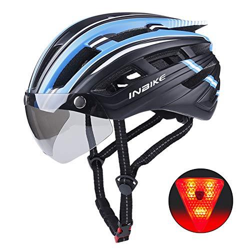 QMMD Casco Bici con Luce di LED Sicurezza Uomo Donne Mountain Visiera Magnetica Casco da Ciclismo Unisex Sportiva Casco da Bicicletta Superleggero Regolabile 57-61 cm,B Blue