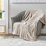 Microplush Heated Throw Blanket with Foot Pocket Brown 50x62   Heated Lap Blanket for Home or Office   Keeps Toes Toasty   3 Heat Settings   Lower Power Bill   6Ft Power Cord – UL Certified