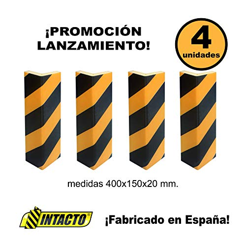INTACTO ESQUINERA DE PROTECCIÓN Coche Espuma de Polietileno, Film Amarillo y Negro + Adhesivo Extra Fuerte 400X150X20MM. 4 Unidades.