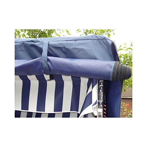 XINRO® XL Volllieger Strandkorb Ostsee - anthrazit, schwarzes Polyrattan - XY-71-118cm breit - inkl. Strandkorbhülle - inkl. 4 Kissen - 3