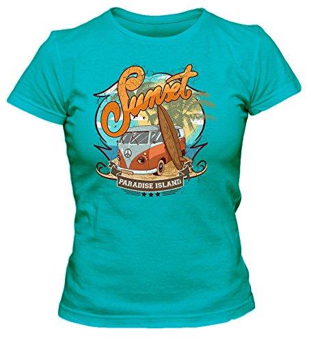 Sunset-Paradise-Island Cooles Party Damen T-Shirt_türkis_L