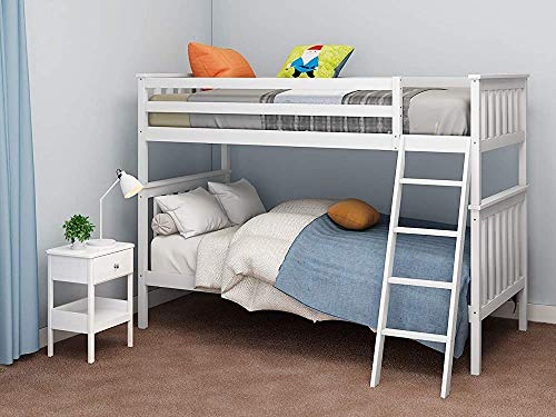 Wooden bunk Bed, 3FT Single Bed Frame for Adults and Children, can be Divided into 2 Single beds, can be Used for Bedroom Furniture,White