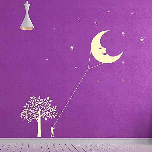 YuanMinglu Mond und Sterne Vinyl wandaufkleber Szene Drachen wandtattoos Kinder Kindergarten dekorative wandaufkleber wandbild tapete 99x100,5 cm