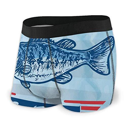 Calzoncillos Boxer para Hombres, Pictograma de pez Trucha con Fondo de Tema de Bandera Nacional de EE. UU. Gancho y Estrellas Talla XL