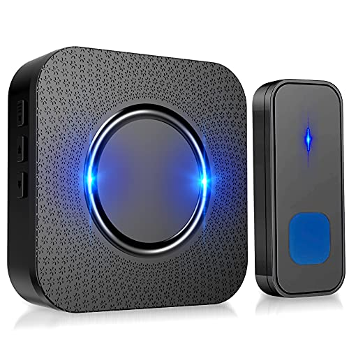 PewinGo Campanello Wireless, 55 Melodie e 5 Livelli di Volume Campanello Senza Fili da Esterno Impermeabile IP55 per Casa, Ufficio, Anziani, Gamma 300M con Indicatore LED