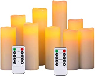"""TFH Flameless Candles Battery Operated Candles 4"""" 5"""" 6"""" 7"""" 8"""" 9"""" Set of 9 Ivory Real Wax Pillar LED Candles with 10-Key Remote and Cycling 24 Hours Timer"""