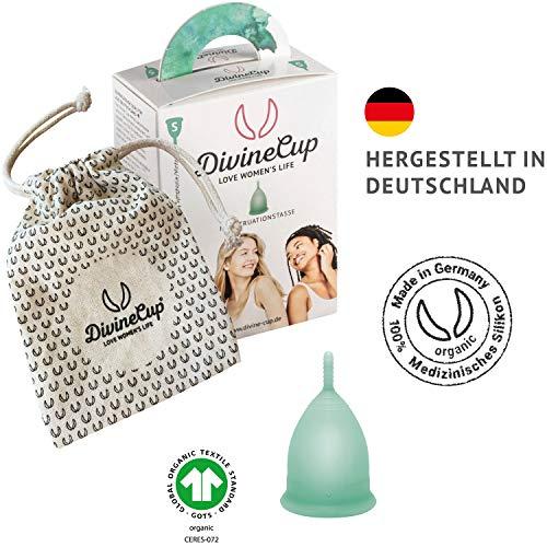 DIVINE CUP Menstruationstasse – Spring Symphony/Mintgrün – Made in Germany – geruchlos – medizinisches Silikon – Alternative zu Tampons und Binden (S – Klein) - 4