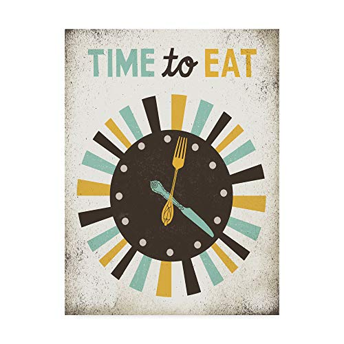 Trademark Fine Art Retro Diner Time to Eat Clock by Michael Mullan, 18×24-Inch