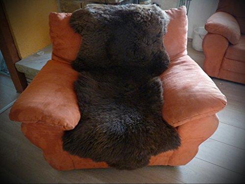 Echter Lammfell Sesselschoner komplett aus Naturfellen 190x70cm braun
