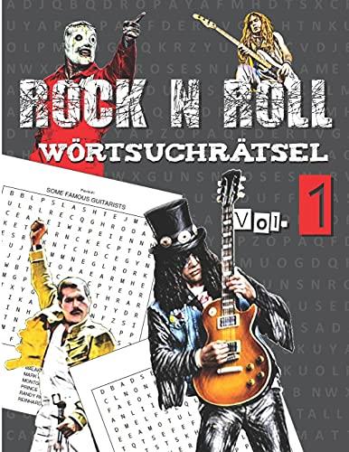 ROCK N ROLL - Wörtsuchrätsel: Für Musikliehaber und Fans von Rock, Hard rock und Metal Musik - wörter suchen für erwachsene.