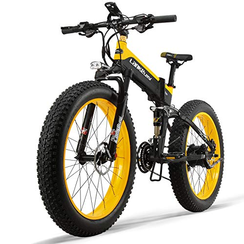 LANKELEISE Folding Mountain Bike 1000w/48v Motor 14ah/48v Lithium Battery Samsung electrictic Bicycle