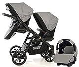 Carro doble (gemelar) niños diferentes edades. 2 sillas + 1 portabebe +...
