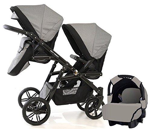 Carro doble (gemelar) niños diferentes edades. 2 sillas + 1