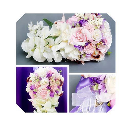 Rosa Lila Wasser-Tropfen Wasserfall Elegante Wedding Bouquet Artificial Carla Lily Braut Brautstrauß Braut Wedding Bouquet, Lila
