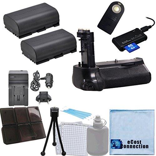 Battery Grip for Canon EOS 7D Mark II DSLR Camera + 2 LP-E6 Batteries + Car/Home Charger + Remote Control Shutter + Memory Card Reader + Deluxe eCost Starter Kit | BG-E16