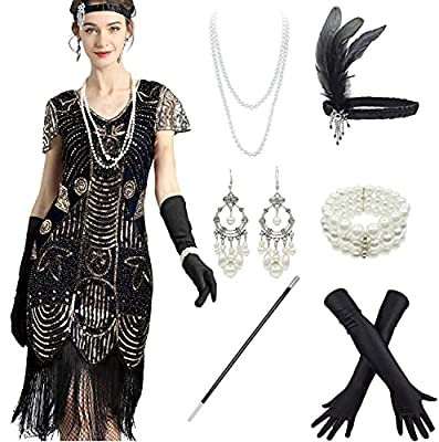 Women 1920s Sequins Gatsby Cocktail Flapper Dresses with 20s Headband Accessories Set