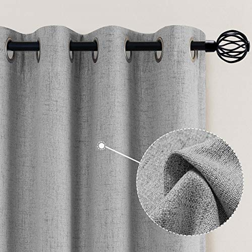 Vangao Linen Blackout Curtains 84 Inches Long Gray Linen Textured Drapes Room Darkening for Living Room Bedroom Window Treatment 2 Panels, Grommet Top, Grey