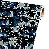 Sky Auto INC Digital Blue Camouflage Vinyl Car Wrap Film Sheet + Free Cutter & Squeegee (1ft x 5ft / 12' x 60')