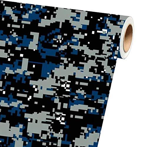 "Sky Auto INC Digital Blue Camouflage Vinyl Car Wrap Film Sheet + Free Cutter & Squeegee (40ft x 5ft / 480"" x 60"")"