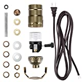 Canomo Lamp Light Kit Make a Lamp Kit with Essential Hardware, 3 Way Socket and 12 Feet Matching Cord for DIY Table and Floor Lamp (Antique Brass)