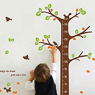 Customer reviews Qianxing Removable Wiederverwandbares Height Wall Picture in Animal Design Series Cartoon Animal Baby Height Chart Measure Decal for Living Room and Bedroom Decoration Wall Sticker Wall Paper Wall sticker in Various Sizes and Designs, Multi-Coloured