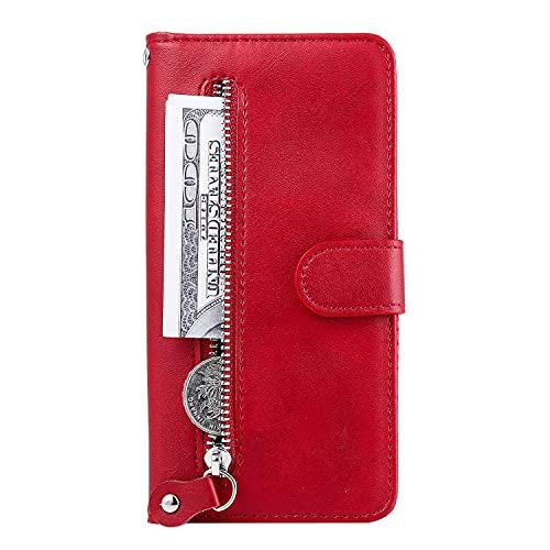 Funda tipo cartera de piel para Motorola Moto Edge 20 Pro, funda de protección para teléfono inteligente con cierre de cremallera, bolsillo para auriculares, moneda, color rojo