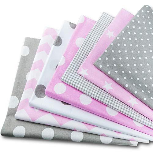 Amazinggirl Baumwollstoff meterware Stoffpaket 7 Stück je 50x80cm - Stoffe zum Nähen Patchwork Stoff Paket Stoffreste nähstoffe Baumwolle Öko-Tex weiß-grau-rosa