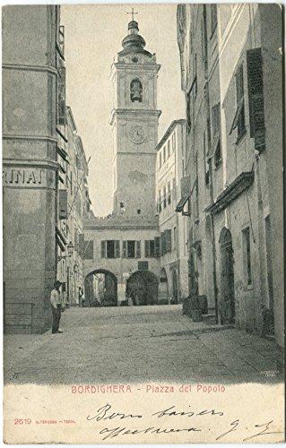 Primi '900 Bordighera Piazza del Popolo Uomo Torre...