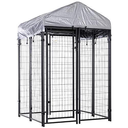 PawHut 50' x 46' x 72' Large Outdoor Dog Kennel Galvanized Steel Fence with UV-Resistant Oxford Cloth Roof & Secure Lock