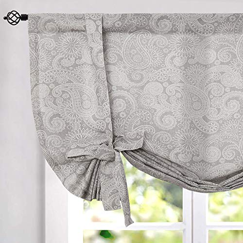 jinchan Tie Up Curtains for Windows Linen Textured Adjustable Tie-up Shade for Kitchen Rod Pocket Paisley Medallion Design Rustic Jacobean Floral Printed Tie-up Valance 45 inches Long Grey 1 Panel