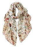 GERINLY Lightweight Scarves and Wraps Birds Florals Scarf for Women Spring Gift Accessories (Beige)