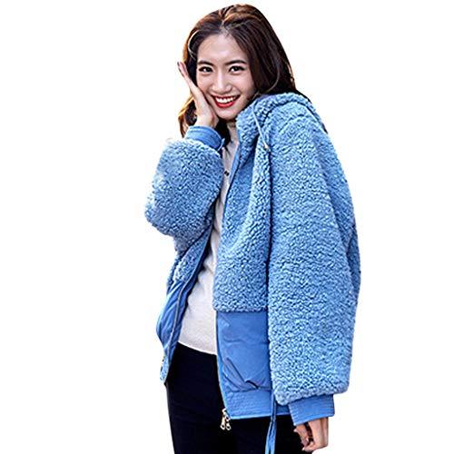 Xmiral Mäntel Damen Einfarbig Plüsch Patchwork Daunenjacke Winter Warm Jacke Mantel College-Style Baumwollmantel Sweatjacke(Blau,XL)