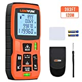 Laser Measure, LOMVUM 393Ft Laser Distance Meter M/In/Ft Unit switching 2 Bubble Levels Backlit LCD and Measure Distance, Pythagorean Mode, Area and Volume - Hand Strap and Battery Included