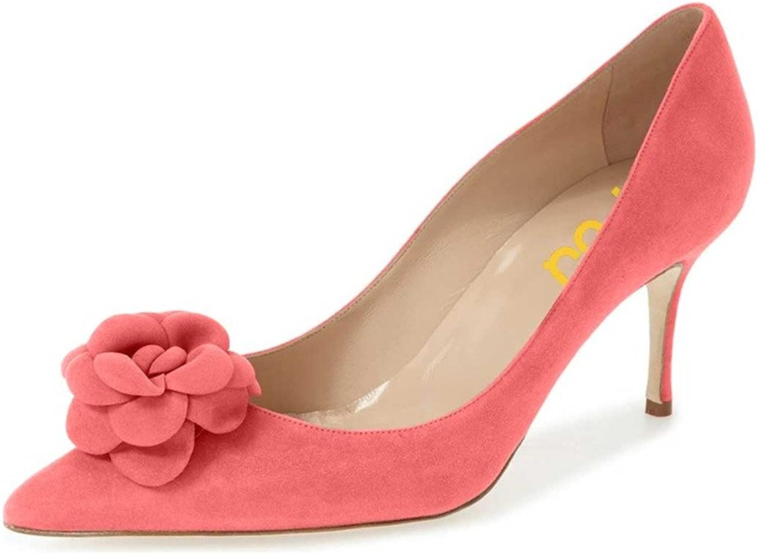 FSJ Fashion Pointed Toe Pumps Mid Heel Suede shoes for Women with Flower Size 4-15 US