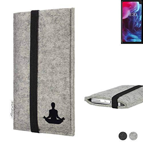 flat.design Handy Hülle Coimbra für Archos Oxygen 63XL - Yoga Asana Lotussitz Tasche Hülle Filz Made in Germany hellgrau schwarz