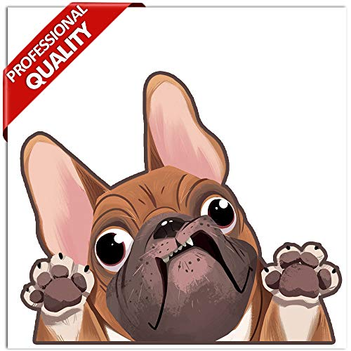 Biomar Labs® 1 x PVC Vinyl Hond Sticker Franse Bulldog Puppy Decal voor Bumper Auto Venster Moto Helm B 225